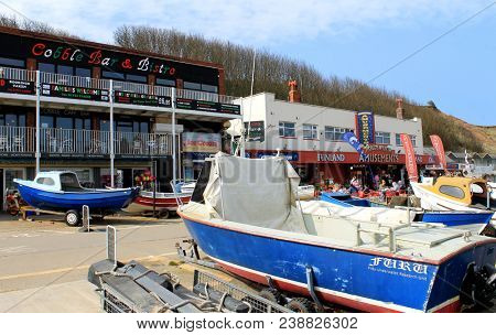 FILEY, NORTH YORKSHIRE, ENGLAND - 23rd April 2018: Filey town cobble landing and harbor seaside resort on the 23rd April 2018. This is a popular tourist destination.