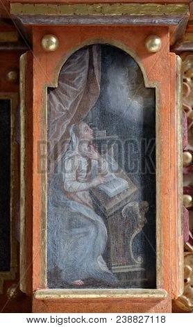VUKOVOJ, CROATIA - OCTOBER 08: The Annunciation of the Virgin Mary, altarpiece on the main altar in the chapel of St. Wolfgang in Vukovoj, Croatia on October 08, 2016.