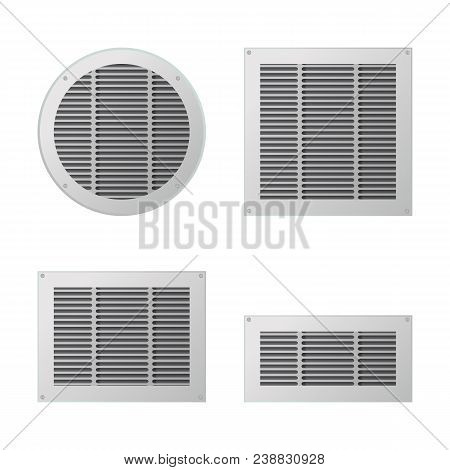 A Set Of Rectangular And Circular Ventilation Grilles. Exhaust And Supply Ventilation System. Vector