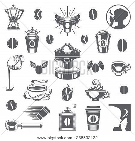 Coffee Shop Vector Design Elements. Coffee Cup Silhouette Isolated On White Background. Vector Objec