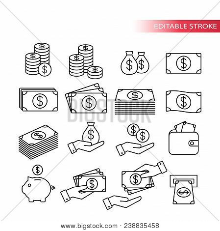 Thin Line, Fully Editable Icon Set. Money Icons. Money Stack, Coin Stack, Piggy Bank, Wallet With Mo