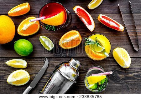 Mix Exotic Fruit Cocktail With Alcohol. Shaker And Strainer Near Citrus Fruits And Glass With Cockta