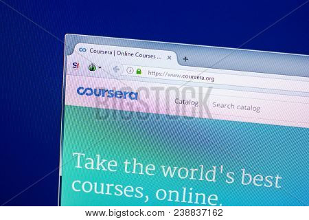 Ryazan, Russia - April 29, 2018: Homepage Of Coursera Website On The Display Of Pc, Url - Coursera.o