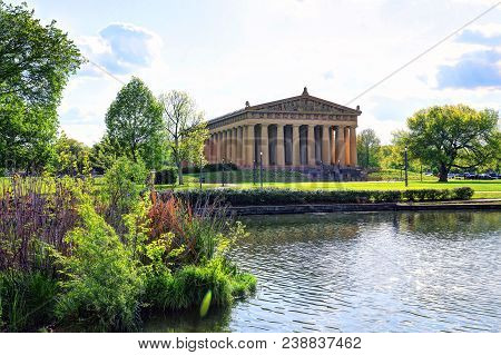 Nashville, Tennessee - April 27, 2018 - The Parthenon In Nashville, Tennessee Is A Full Scale Replic