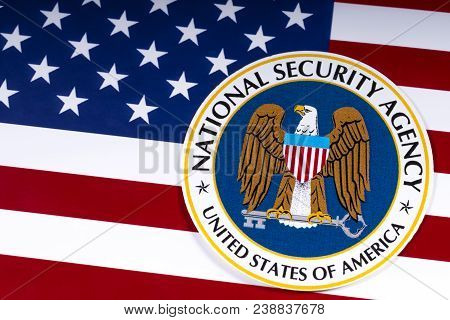 London, Uk - March 26th 2018: The Symbol Of The National Security Agency Portrayed With The Us Flag,