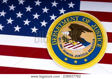London, Uk - March 26th 2018: The Symbol Of The United States Department Of Justice Portrayed With T