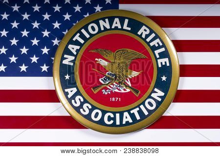 London, Uk - March 26th 2018: The Symbol Of The National Rifle Association Portrayed With The Us Fla