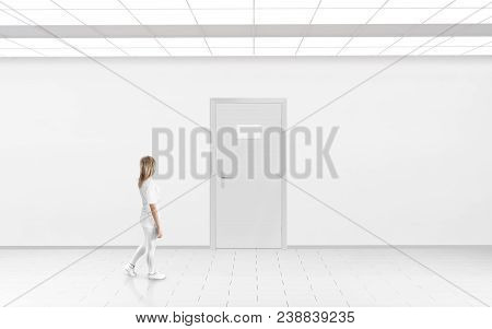 Woman Stand Near Blank Name Plate Design Mockup Hanging On Door. Door Sign Mock Up Template On Entry