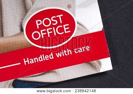 London, Uk - March 27th 2018: A Close-up Of The Post Office Logo, Pictured On An Information Leaflet