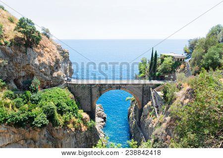 Famous Picturesque Road Viaduct Of Amalfitana Summer Coast, Italy