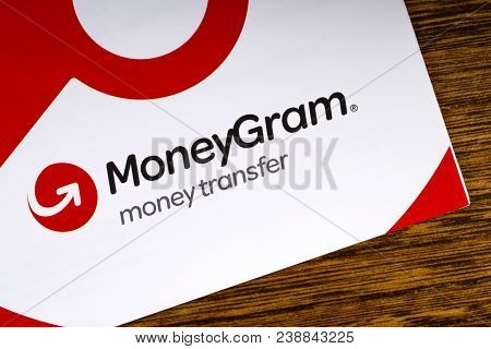 London, Uk - March 27th 2018: A Close-up Of The Moneygram Logo On An Information Leaflet, On 27th Ma