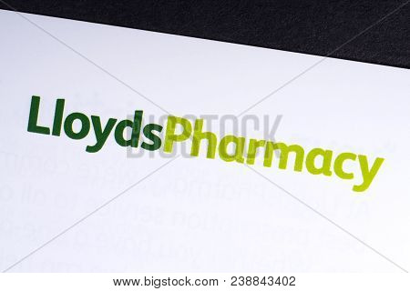 London, Uk - March 27th 2018: A Close-up Of The Lloyds Pharmacy Logo On An Information Leaflet, On 2