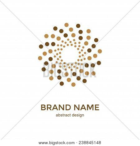 Abstract Circular Halftone Dots Logo. Digital Flower Icon Design. Dotted Logotype Template For Premi