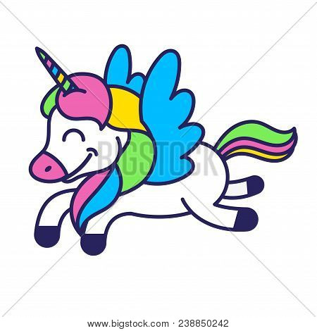 Icon Very Cute Smile Fantasy Little Pony Colorful Unicorn Pegasus Which Fly In Beautiful Magic Space
