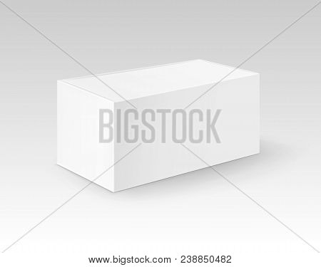 Vector White Blank Cardboard Rectangle Take Away Box Packaging For Sandwich, Food, Gift, Other Produ