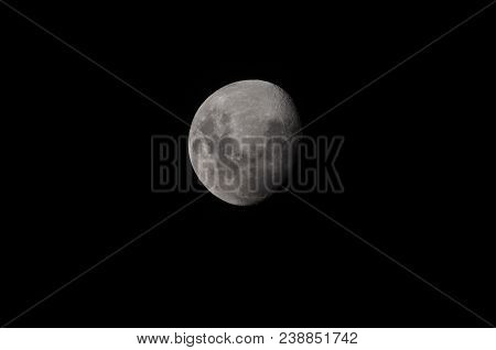 Moon Over Dark Black Sky At Night , Moon Background. Phase Of The Moon, Highly Detailed Photo Of The