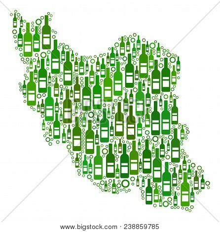 Iran Map Collage Of Wine Bottles And Circles In Variable Sizes And Green Color Tinges. Abstract Iran