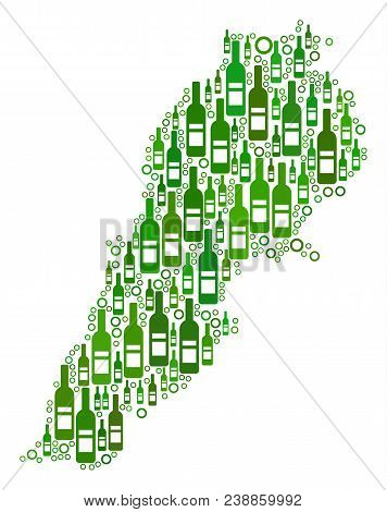 Lebanon Map Collage Of Wine Bottles And Round Bubbles In Different Sizes And Green Color Tones. Abst