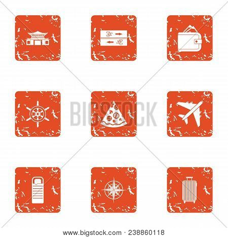 Money Continent Icons Set. Grunge Set Of 9 Money Continent Vector Icons For Web Isolated On White Ba