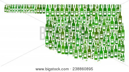 Oklahoma State Map Mosaic Of Alcohol Bottles And Round Bubbles In Variable Sizes And Green Color Tin