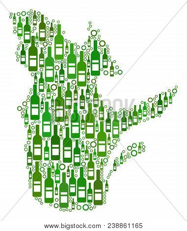 Quebec Province Map Collage Of Wine Bottles And Round Bubbles In Variable Sizes And Green Color Ting