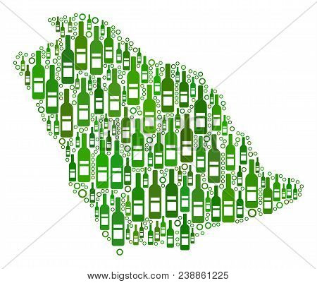 Saudi Arabia Map Collage Of Wine Bottles And Round Bubbles In Various Sizes And Green Color Hues. Ab