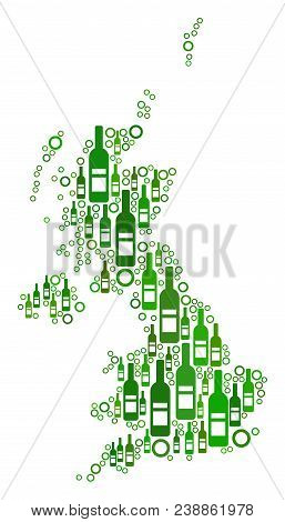 United Kingdom Map Collage Of Wine Bottles And Circle Bubbles In Variable Sizes And Green Color Ting