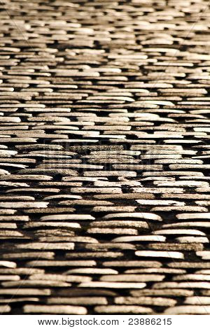Cobblestone Floor At Sunset