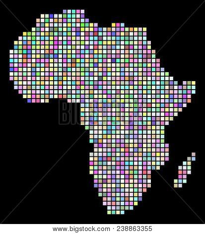 Pixel Africa Map. Vector Geographic Map In Arbitrary Colors On A Black Background. Vector Mosaic Of