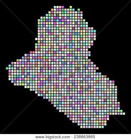 Pixel Iraq Map. Vector Geographic Map In Randomized Colors On A Black Background. Vector Concept Of
