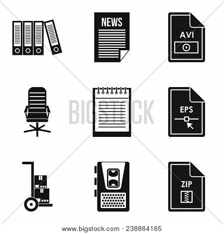 Main Document Icons Set. Simple Set Of 9 Main Document Vector Icons For Web Isolated On White Backgr
