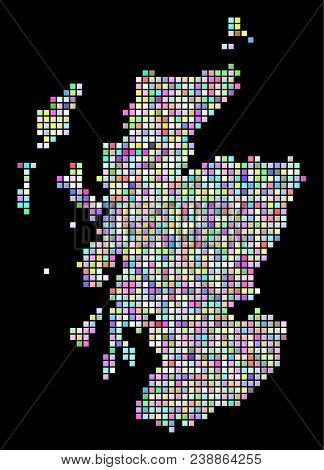 Dot Scotland Map. Vector Geographic Map In Different Colors On A Black Background. Vector Concept Of
