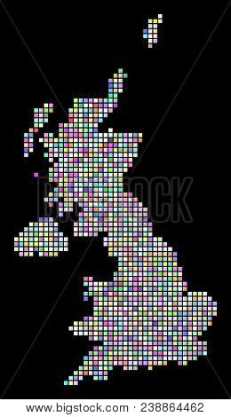 Pixel United Kingdom Map. Vector Geographic Map In Casual Colors On A Black Background. Vector Colla