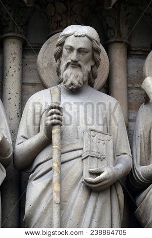 PARIS, FRANCE - JANUARY 04: Saint Simon, Portal of the Last Judgment, Notre Dame Cathedral, Paris, UNESCO World Heritage Site in Paris, France on January 04, 2018.