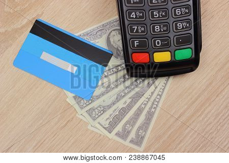 Payment Terminal With Credit Card And Money, Credit Card Reader, Paying Using Credit Card Or Cash, F