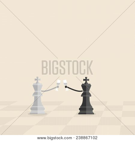 Black And Grey King Of Chess Hold The Glass Of Wine In His Hand.business Cooperation And Reconciliat