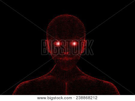 Red Evil. Wireframe Model With Connection Lines On Black Background, Artificial Intelligence In Futu