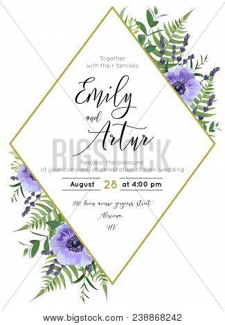 Wedding Floral Invite, Save The Date Card. Watercolor Lavender Blossom, Violet Anemone Flowers, Fore