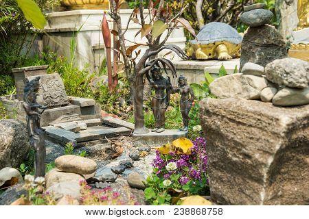 The Small Sculptural Composition In The Park Of Kopan Monastery, Kathmandu, Nepal.