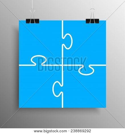 Poster Banner. Four Blue Piece Puzzle Infographic Presentation. 4 Step Puzzle Square Business Diagra