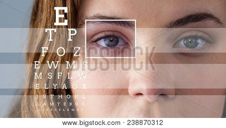 Woman with eye focus box detail and lines and Eye test interface