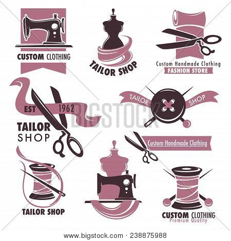 Tailor Shop And Fashion Store Promotional Emblems Set. Custom Handmade Clothing Logotypes With Vinta