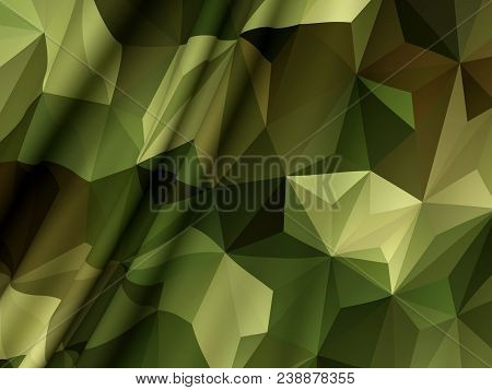 Abstract Military Camouflage Background Made Of Triangles. Camo Pattern For Army Clothing. Beautiful