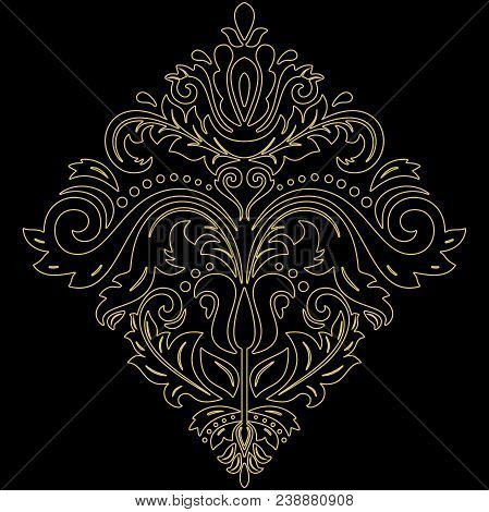 Oriental Vector Pattern With Arabesques And Floral Elements. Traditional Classic Square Golden Ornam