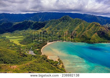 Aerial View Oahu Coastline And Mountains In Honolulu Hawaii From A Helicopter