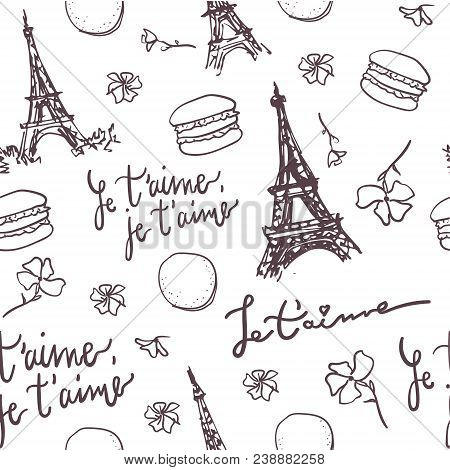 Pattern With Paris Eiffel Tower, French Quotes, Macarons And Flowers. Paris Vector Pattern. French P