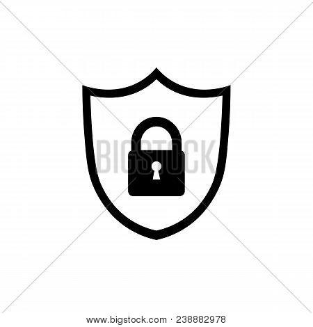 Shield Icon. Lock Icon. Guard Shield Icon. Shield With Lock Black Symbol. Abstract Security Vector I