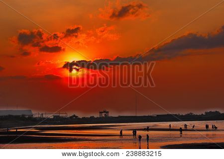 Wonderful Red Sunset Beach In Probolinggo, Indonesia
