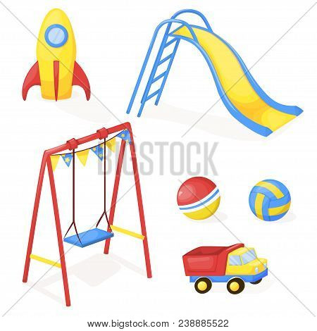 Playground Park Cartoon Vector Fun Play Kid Kindergarten Illustration Child Outdoor Equipment. Child