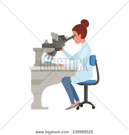 Laboratory Assistant Looking Through Microscope, Scientists In Medical Laboratory Doing Research Vec